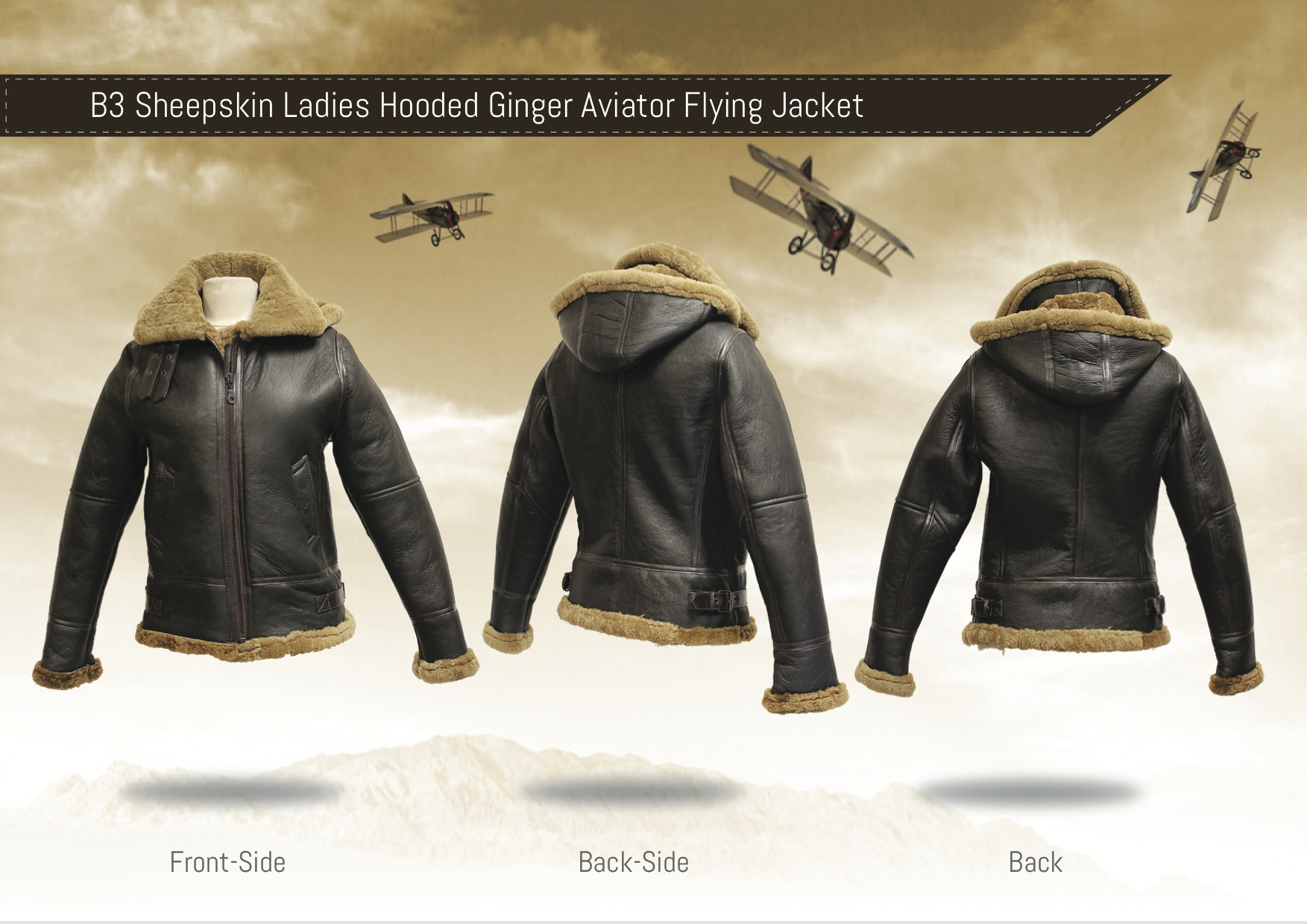 B3 Sheepskin Ladies Hooded Ginger Aviator Flying Jacket | Leather ...